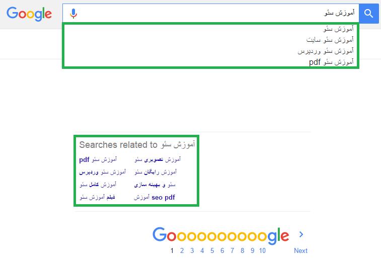 استفاده از پیشنهاد های جستجوی گوگل در پیدا کردن کلمات کلیدی هدف سئو
