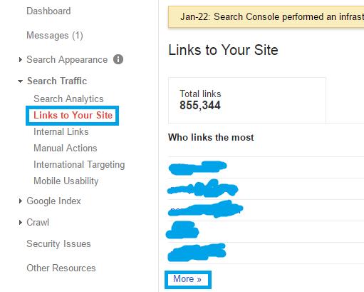 بخش Links to your site برای دریافت لیست بک لینک های سایت